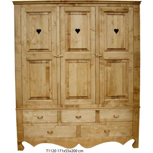 Tradició   háromajtós népi fenyőfa szekrény